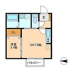 ドルフK−3[2階]の間取り