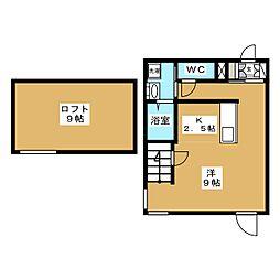 Maison de Beaut 2階ワンルームの間取り
