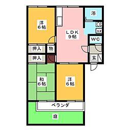 ツインパークB棟[1階]の間取り