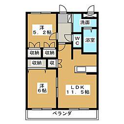 岐阜県加茂郡川辺町下川辺の賃貸アパートの間取り