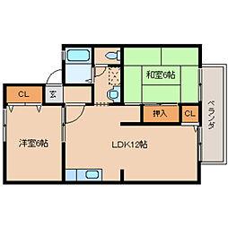 奈良県橿原市大垣町の賃貸アパートの間取り