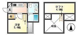 愛知県名古屋市南区三吉町3の賃貸アパートの間取り