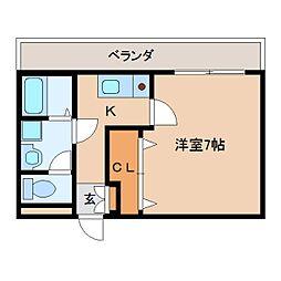 近鉄京都線 高の原駅 徒歩15分の賃貸アパート 2階1Kの間取り