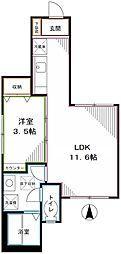 JR中央本線 国立駅 徒歩15分の賃貸マンション 1階1LDKの間取り