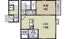 名古屋市営鶴舞線 丸の内駅 徒歩7分の賃貸アパート 2階1LDKの間取り