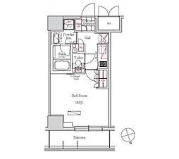 JR山手線 浜松町駅 徒歩11分の賃貸マンション 4階1Kの間取り