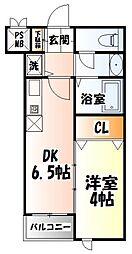仙台市地下鉄東西線 川内駅 徒歩18分の賃貸マンション 2階1DKの間取り