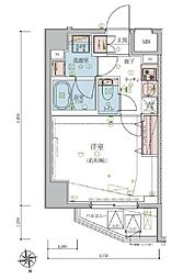 東京メトロ有楽町線 江戸川橋駅 徒歩12分の賃貸マンション 5階1Kの間取り