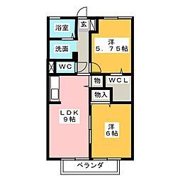 グランドゥールII[2階]の間取り