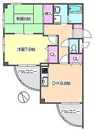 メゾンドゥフレール 2-E[2階]の間取り