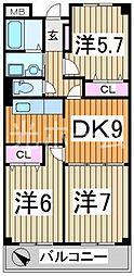 東京都清瀬市中里5丁目の賃貸マンションの間取り
