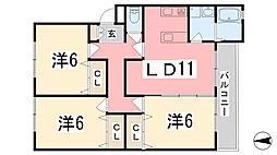 リノスタイル姫路北条[303号室]の間取り