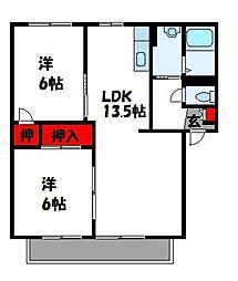 福岡県福津市若木台1丁目の賃貸アパートの間取り