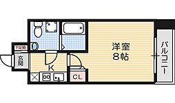 Osaka Metro堺筋線 北浜駅 徒歩4分の賃貸マンション 13階1Kの間取り