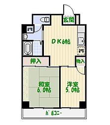 ジュネシオンSEVEN[5階]の間取り