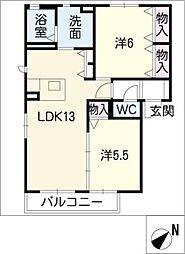 愛知県西尾市亀沢町の賃貸アパートの間取り