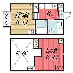 千葉県千葉市稲毛区天台4の賃貸アパートの間取り