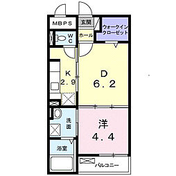 南海線 泉大津駅 徒歩9分の賃貸マンション 2階1LDKの間取り