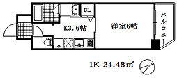 ワールドアイ神戸湊町 2階1Kの間取り