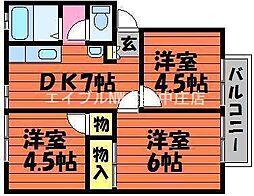 岡山県倉敷市西中新田の賃貸アパートの間取り