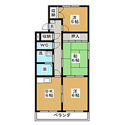 リバーサイド宝生II[3階]の間取り