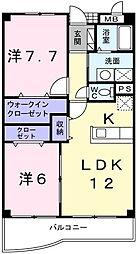 東京都小平市鈴木町1丁目の賃貸マンションの間取り