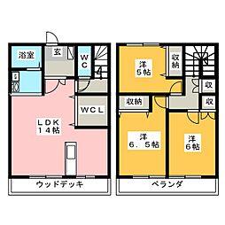 [テラスハウス] 栃木県宇都宮市上横田町 の賃貸【/】の間取り