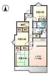 矢田川パークハウス[2階]の間取り