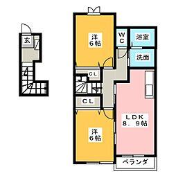 シュープリーム A[2階]の間取り