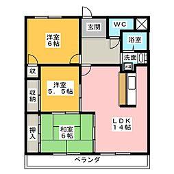 ヒルハイツ浅井[6階]の間取り