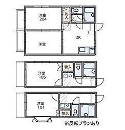 東京都多摩市落合6丁目の賃貸アパートの間取り