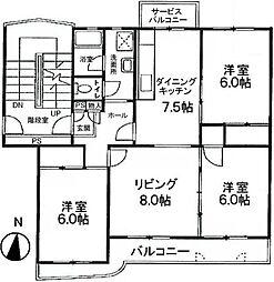 上尾東団地8号棟[3階]の間取り