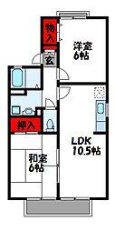 コーポサンライズB棟[1階]の間取り
