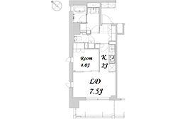 都営浅草線 人形町駅 徒歩12分の賃貸マンション 7階1LDKの間取り