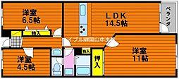 岡山県岡山市中区関丁目なしの賃貸マンションの間取り