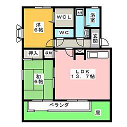 愛知県日進市香久山5丁目の賃貸アパートの間取り
