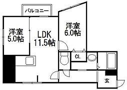 北海道札幌市西区発寒三条1丁目の賃貸マンションの間取り