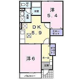 徳島県板野郡藍住町乙瀬字乾の賃貸アパートの間取り