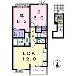 愛知県一宮市大和町妙興寺字千間堂丁目の賃貸アパートの間取り