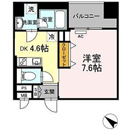 西鉄天神大牟田線 薬院駅 徒歩6分の賃貸マンション 5階1DKの間取り