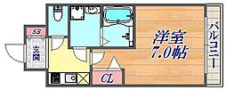 ファステート神戸アモーレ 10階1Kの間取り