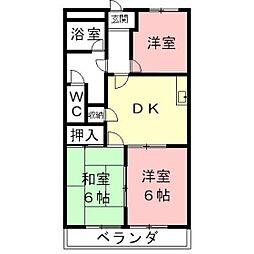 岐阜県羽島郡笠松町米野の賃貸アパートの間取り
