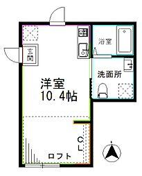 京王井の頭線 高井戸駅 徒歩8分の賃貸アパート 2階ワンルームの間取り