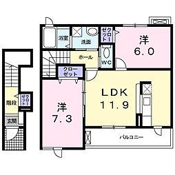 小田急小田原線 柿生駅 徒歩23分の賃貸アパート 2階2LDKの間取り