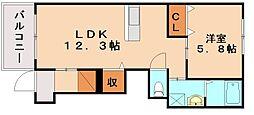 ベルエキップ飯塚[1階]の間取り