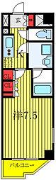 ルーブル西高島平 2階1Kの間取り