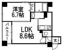 円山シャトー桂和大通館[5階]の間取り
