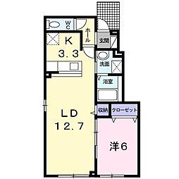 北海道札幌市白石区北郷四条3丁目の賃貸アパートの間取り