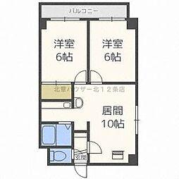 北海道札幌市北区北二十二条西7丁目の賃貸マンションの間取り