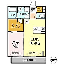神奈川県川崎市多摩区宿河原6丁目の賃貸アパートの間取り